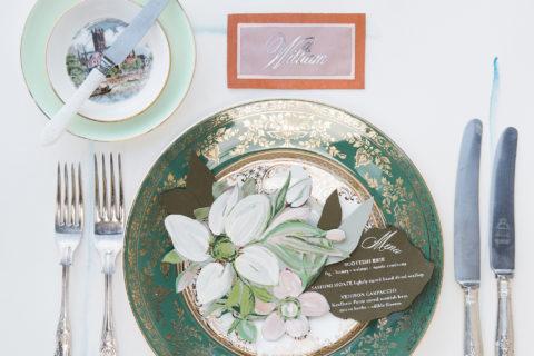 paper-flower-wedding-menu