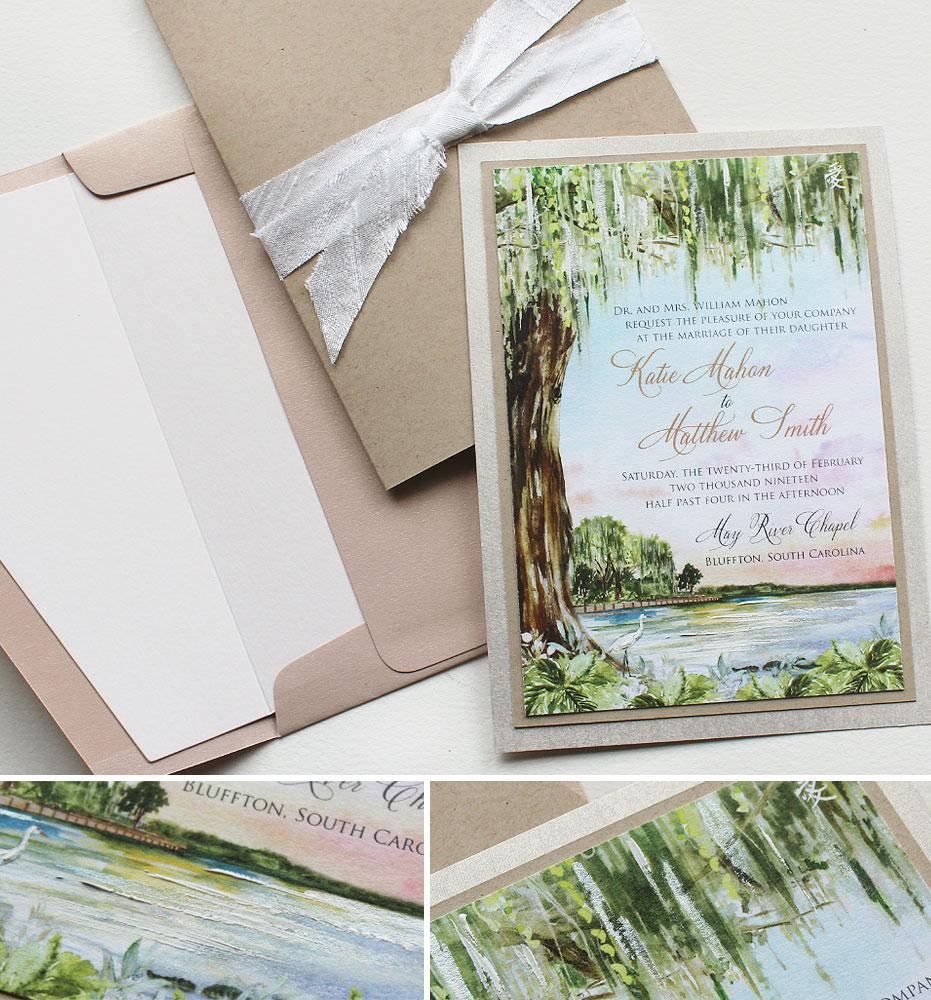 Watercolor Coastal Wedding Invitations