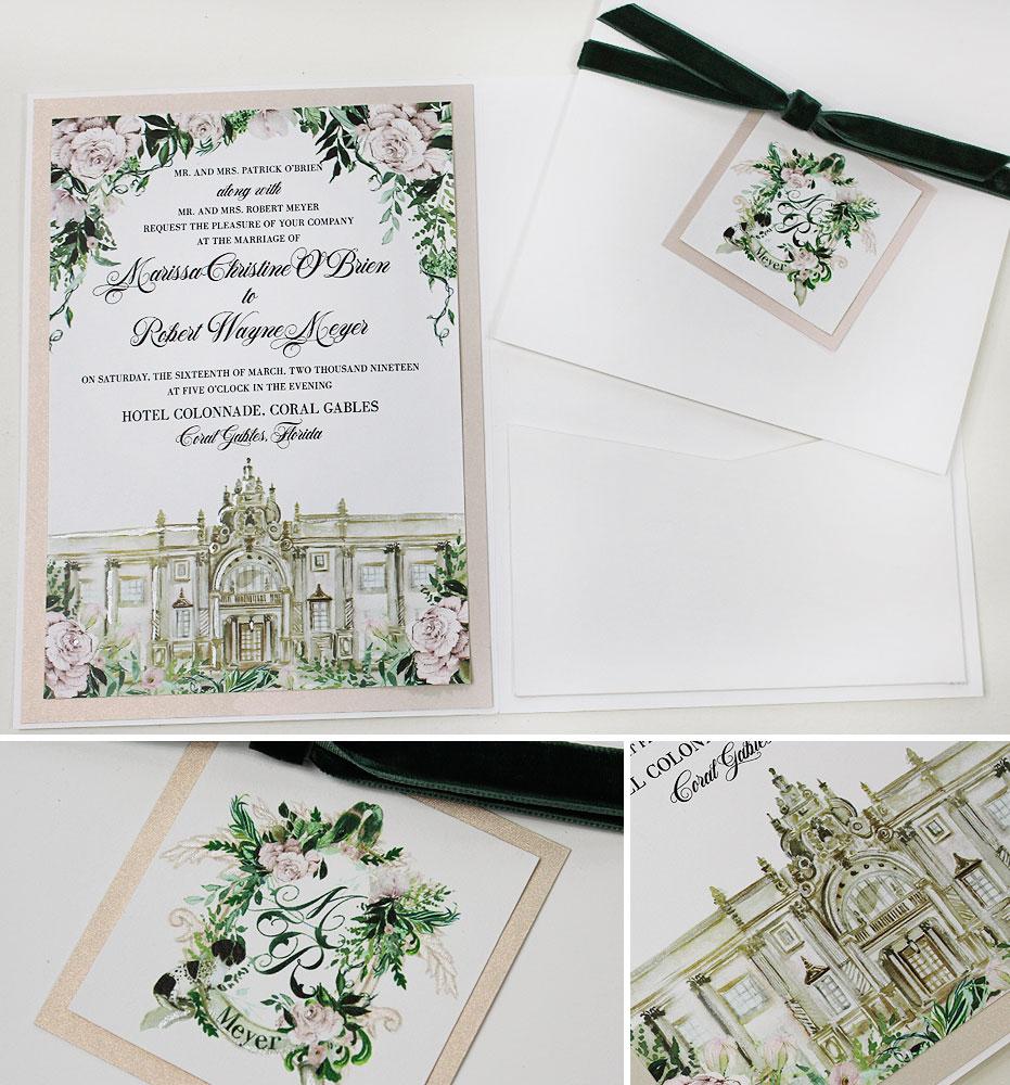 Coral Gable Hotel Colonnade Wedding Invitations