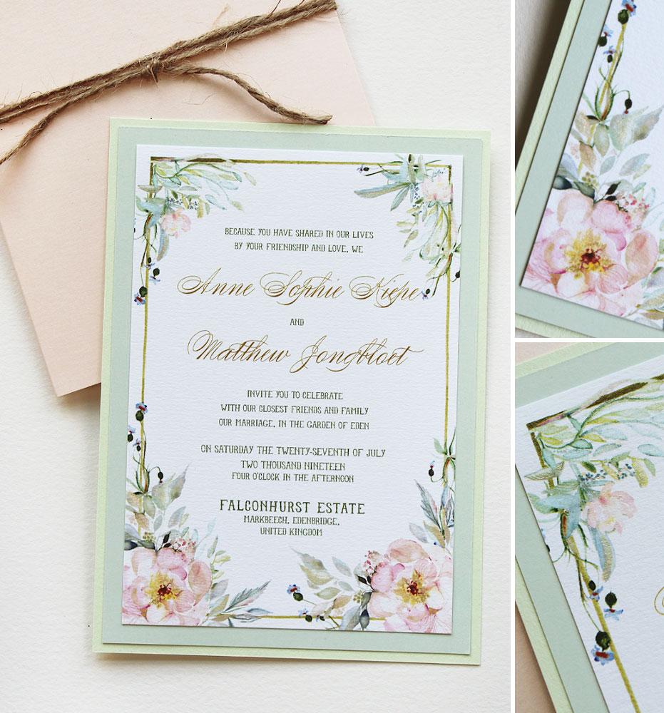 Watercolor Peach Peony Wedding Invitations
