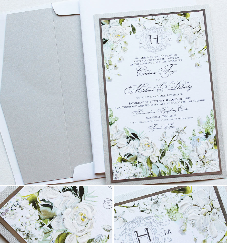 Hand Painted White Floral Wedding Invitations