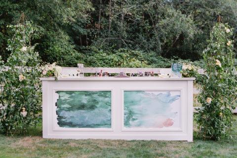 Modern Green Watercolor Wedding Bar Cocktail Signage