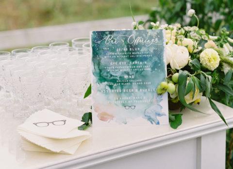 Modern Green Watercolor Wedding Cocktail Bar Sign