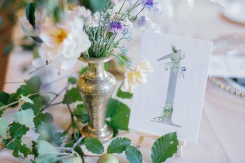 Sage Green Botanical Wedding Table Number