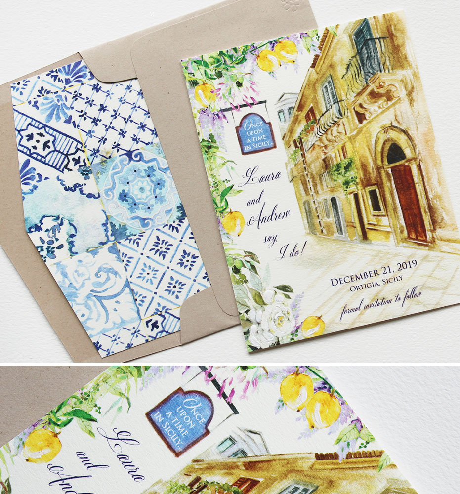 Watercolor Sicily Wedding Save the Dates