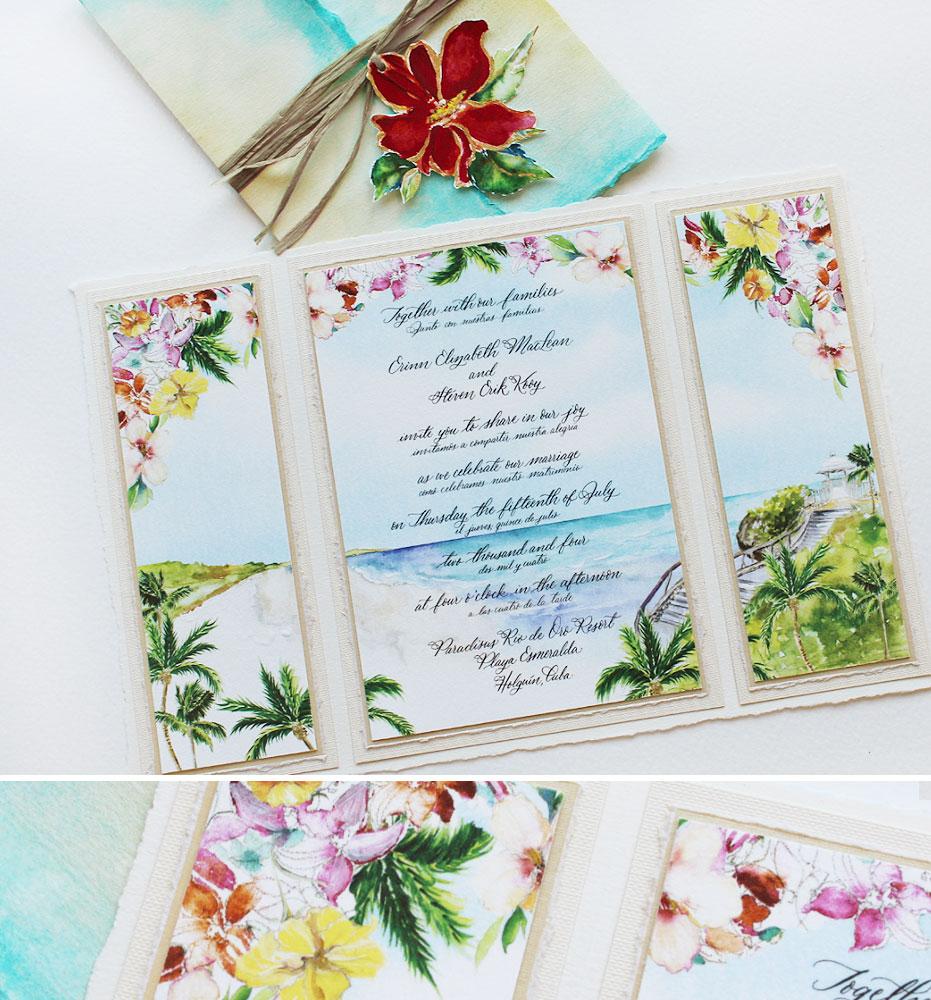Tropical Watercolor Seascape Wedding Invitations