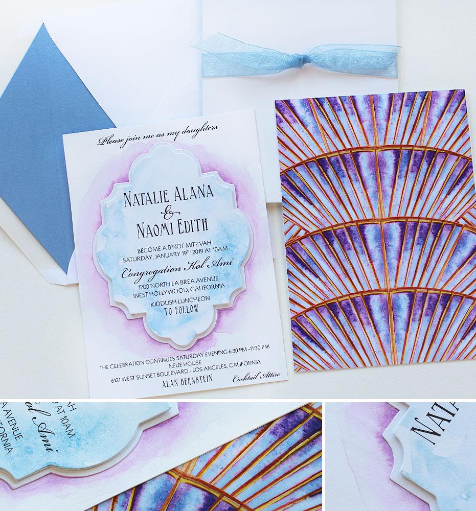 Watercolor Bat Mitzvah Invitations