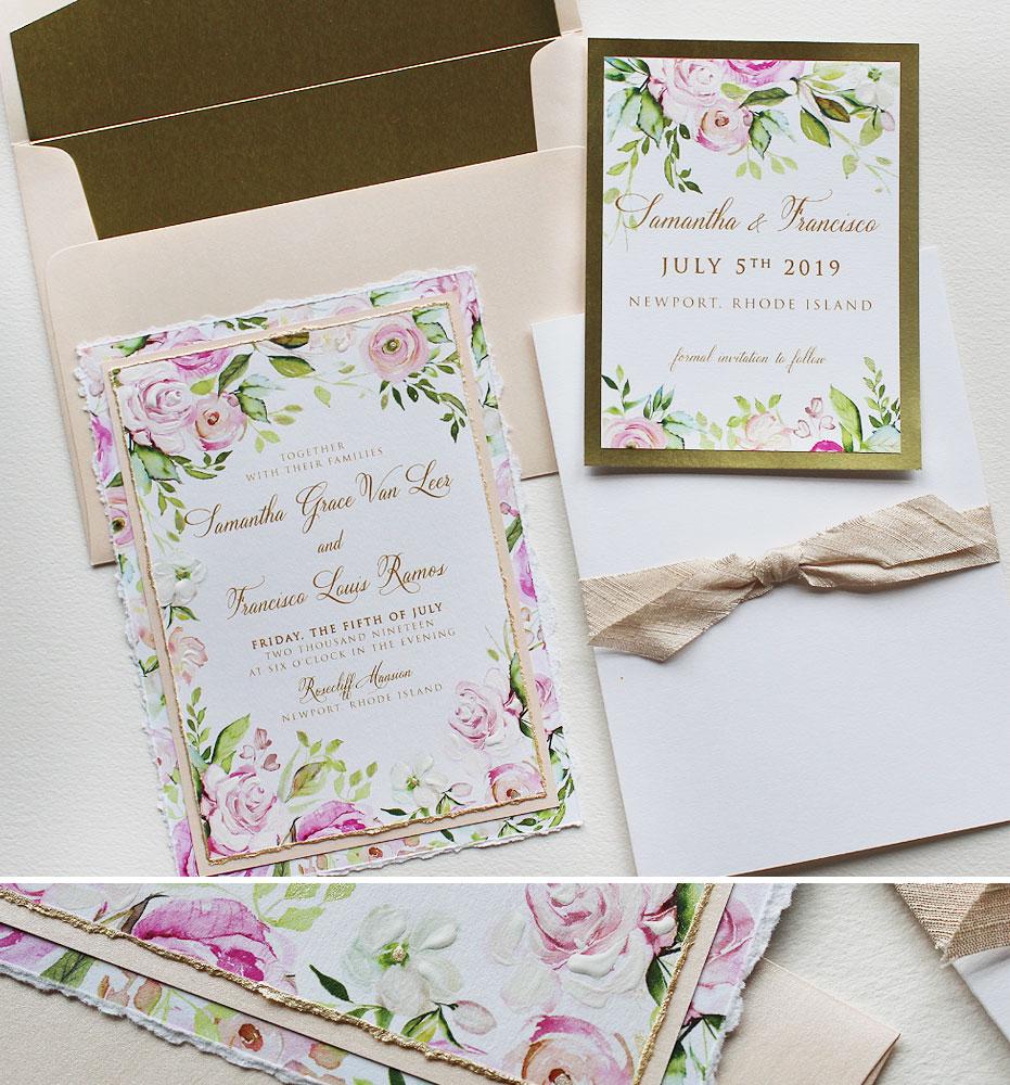 Watercolor Blush Floral Wedding Invitations