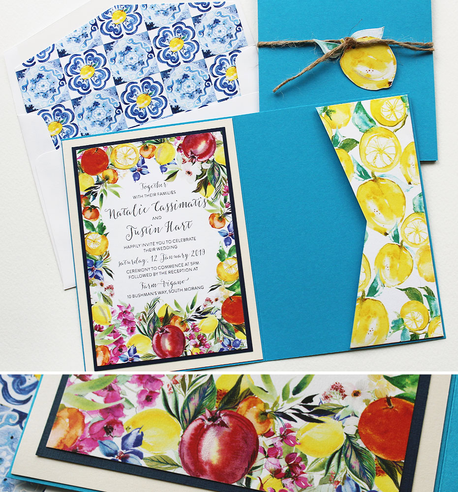 Watercolor Fruit and Floral Wedding invtations