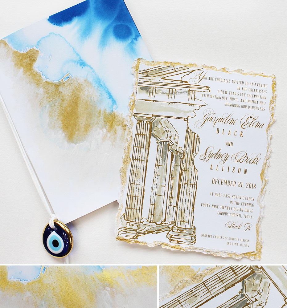 Watercolor Greece Debutante Ball Invitation