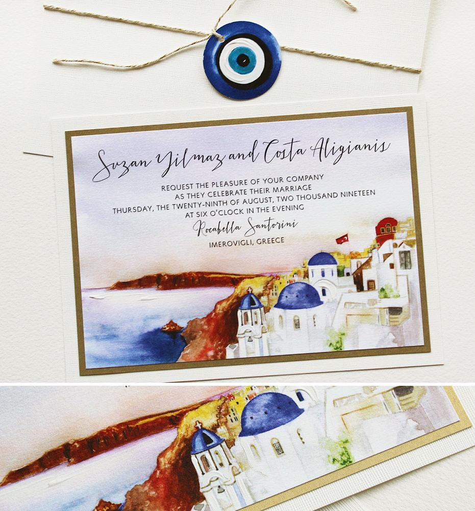 Watercolor Greece Wedding Invitation