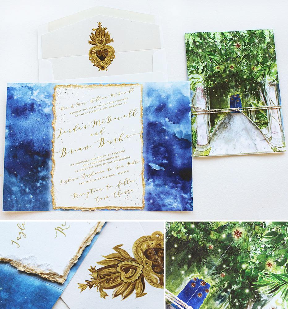 Watercolor Night Sky Wedding Invitation