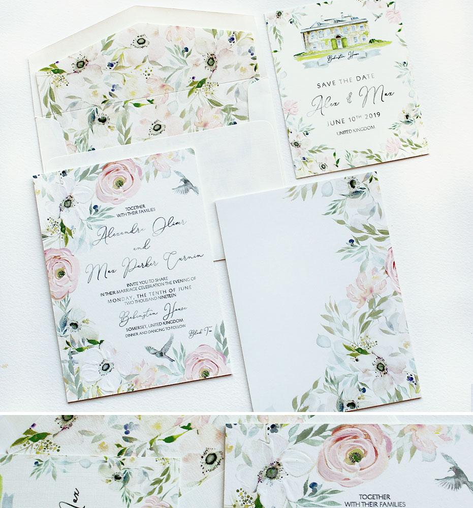 Watercolor Anemone Wedding Stationery
