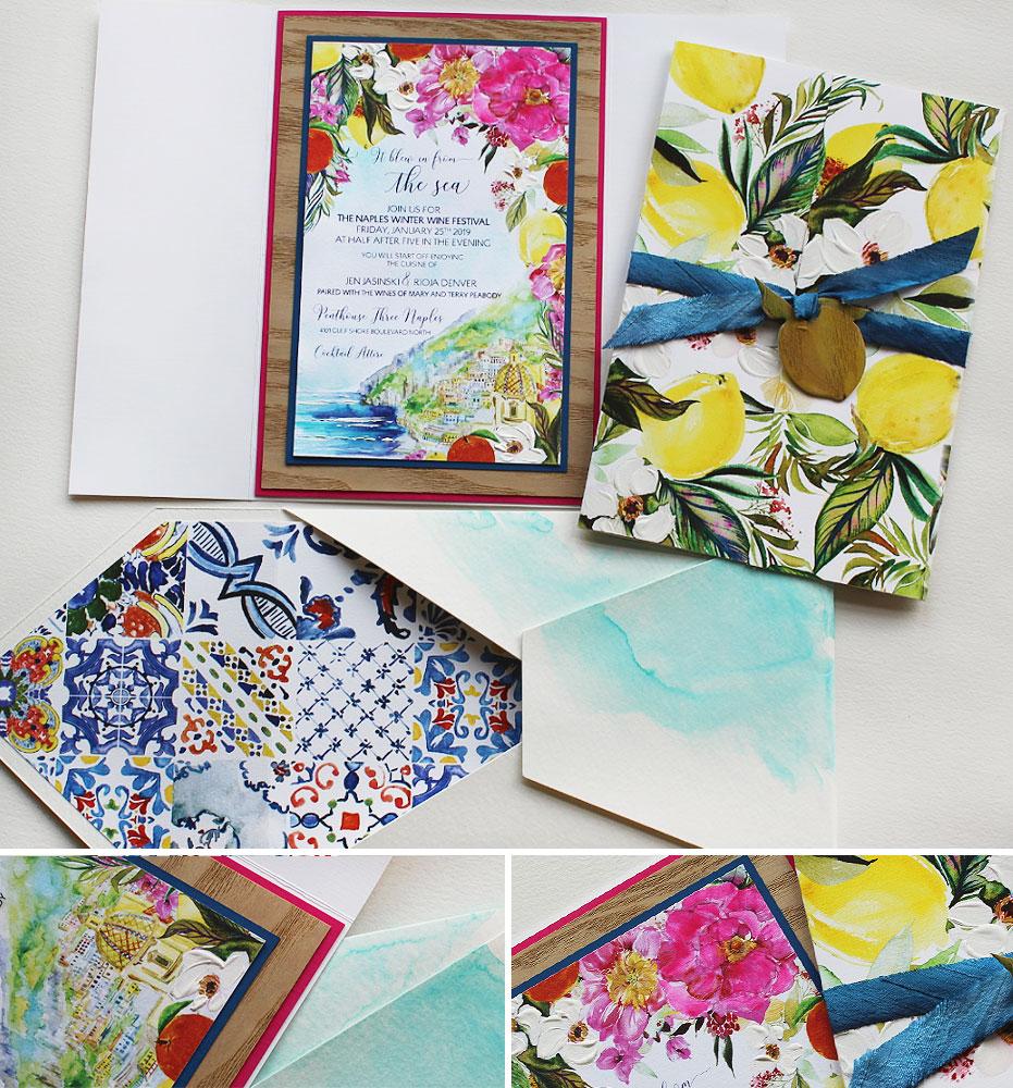 Bright Floral Watercolor Wedding Invitations
