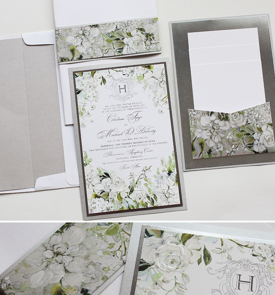 Hand Painted Floral Wedding Invitations