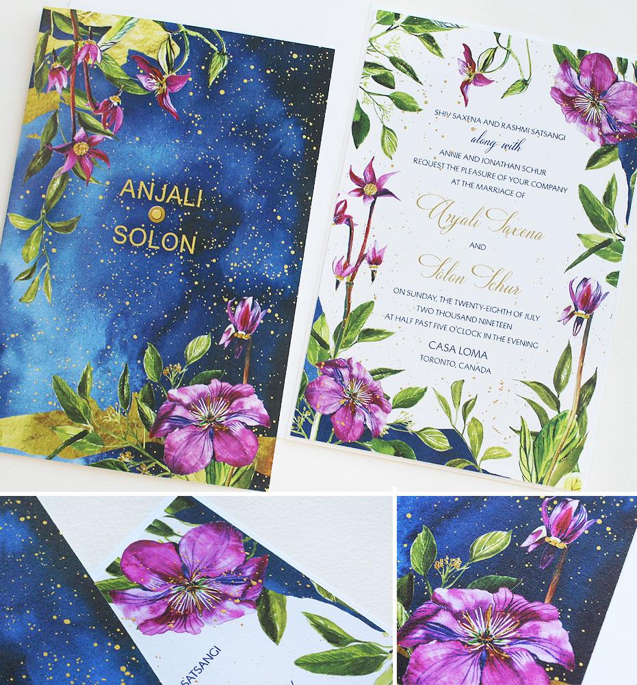 Night Sky Watercolor Wedding Invitations