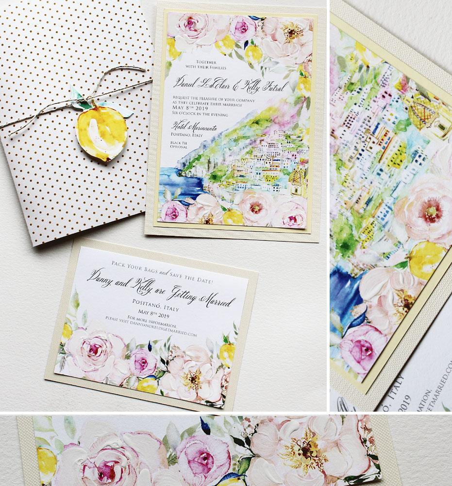 Soft Floral Watercolor Wedding Invitations
