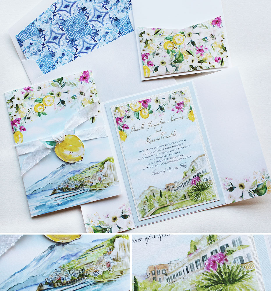 Watercolor Italy Wedding Stationery