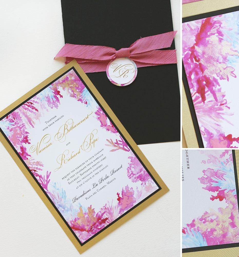 Watercolor Ocean Coral Wedding Invitations