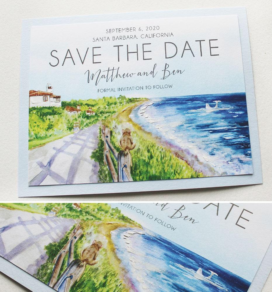 Watercolor Ocean Wedding Stationery