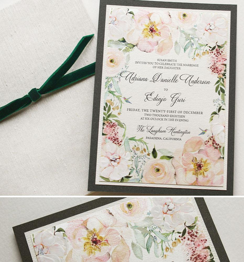Blush Peony Watercolor Wedding Invitation