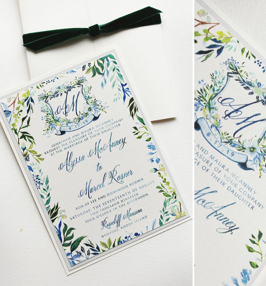 Botanical Crest Wedding Invitations