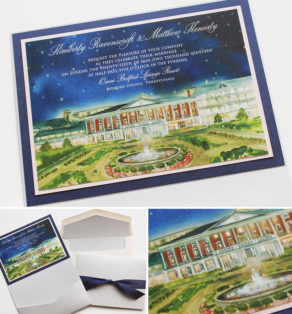 Custom Illustrated Pennsylvania Wedding Invitations