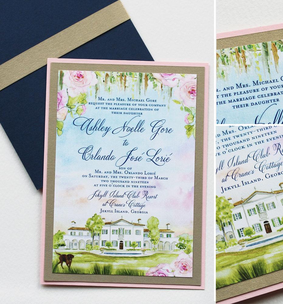 Watercolor Venue Illustration Wedding Invitations