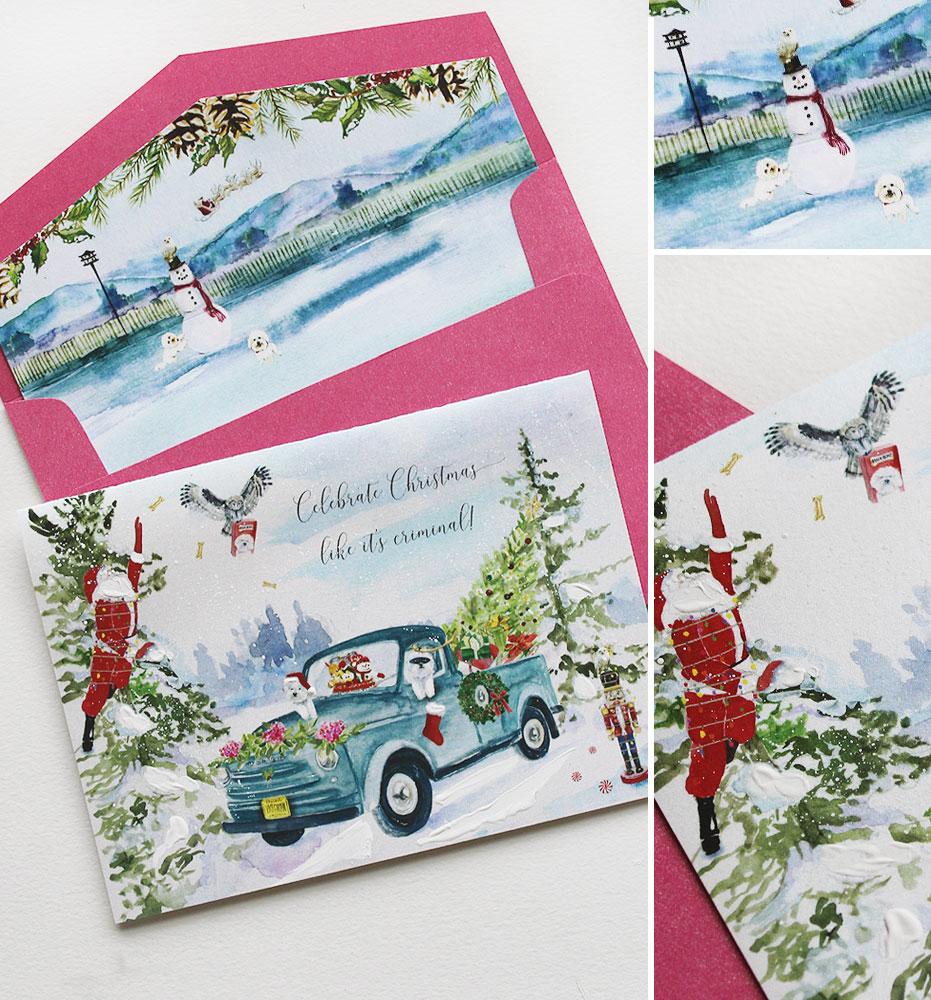 Watercolor Winter Scene Christmas Card