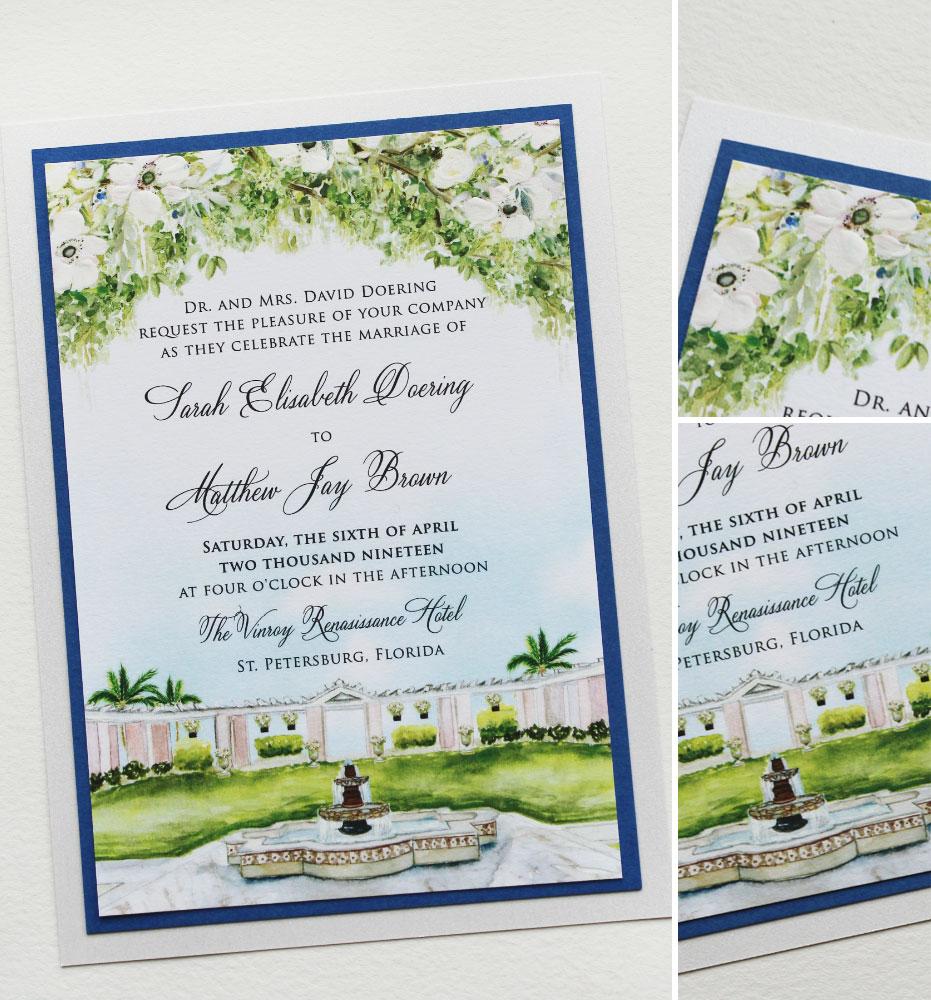 White Anemone Venue Illustration Wedding Invitation
