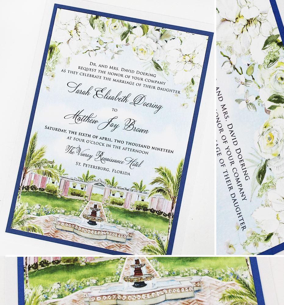 White Floral Wedding Invitations