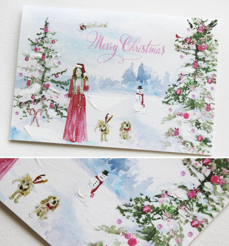Winter Scene Illustrated Christmas Cards
