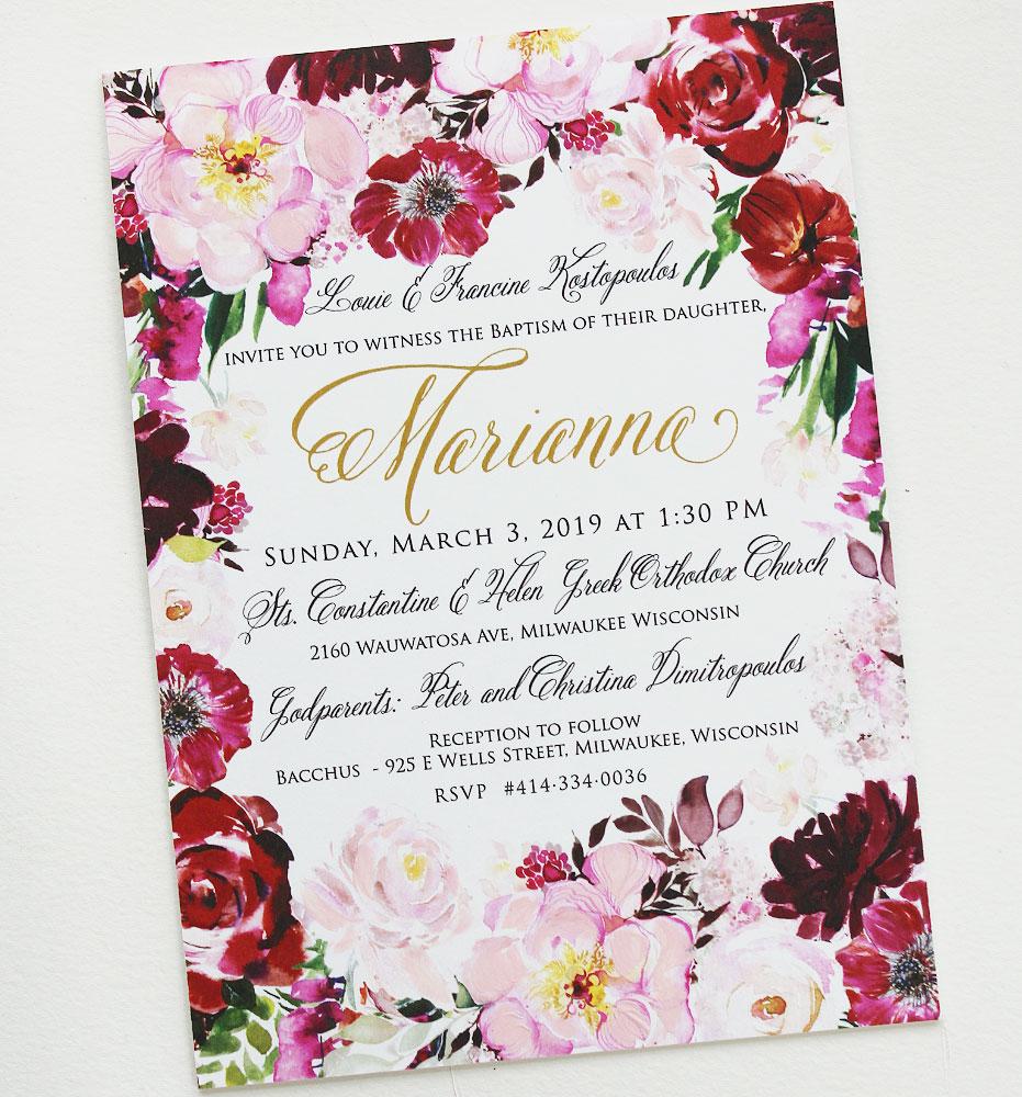 Fuchsia Floral Baptism Invitations