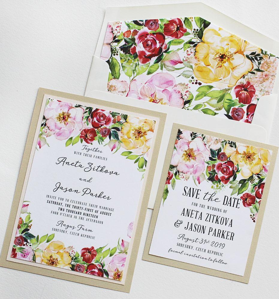 Summer Floral Wedding Invitations
