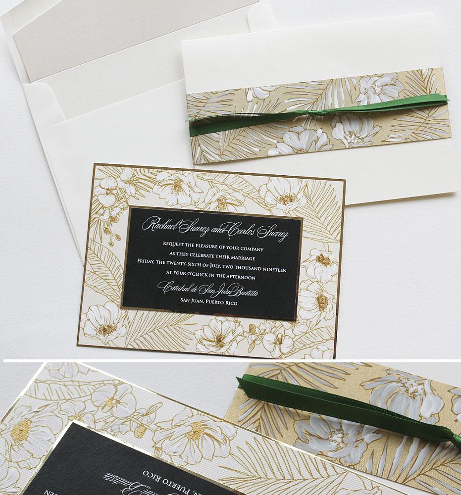 Tropical Palm Pattern Wedding Invitations