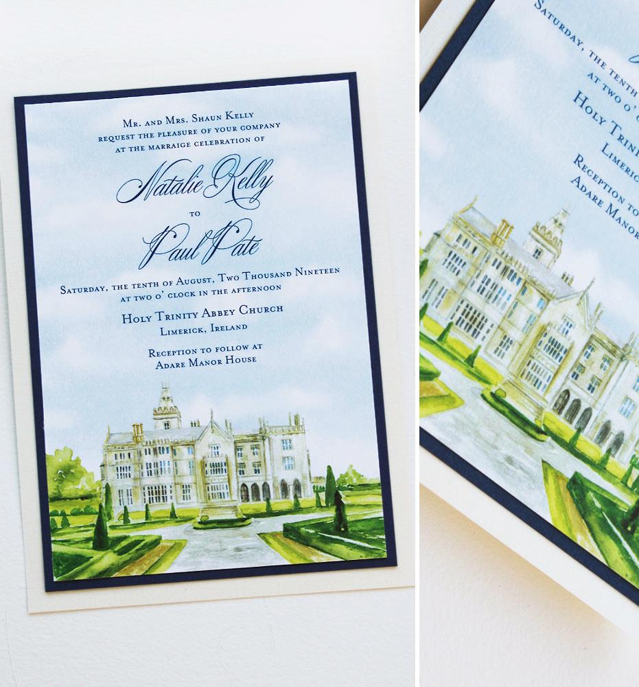 Adare Manor House Ireland Wedding Invitations