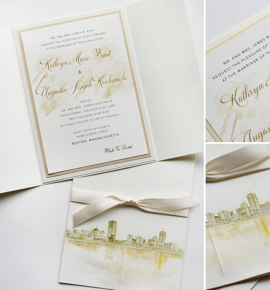 Artistic Black Tie Wedding Invitations