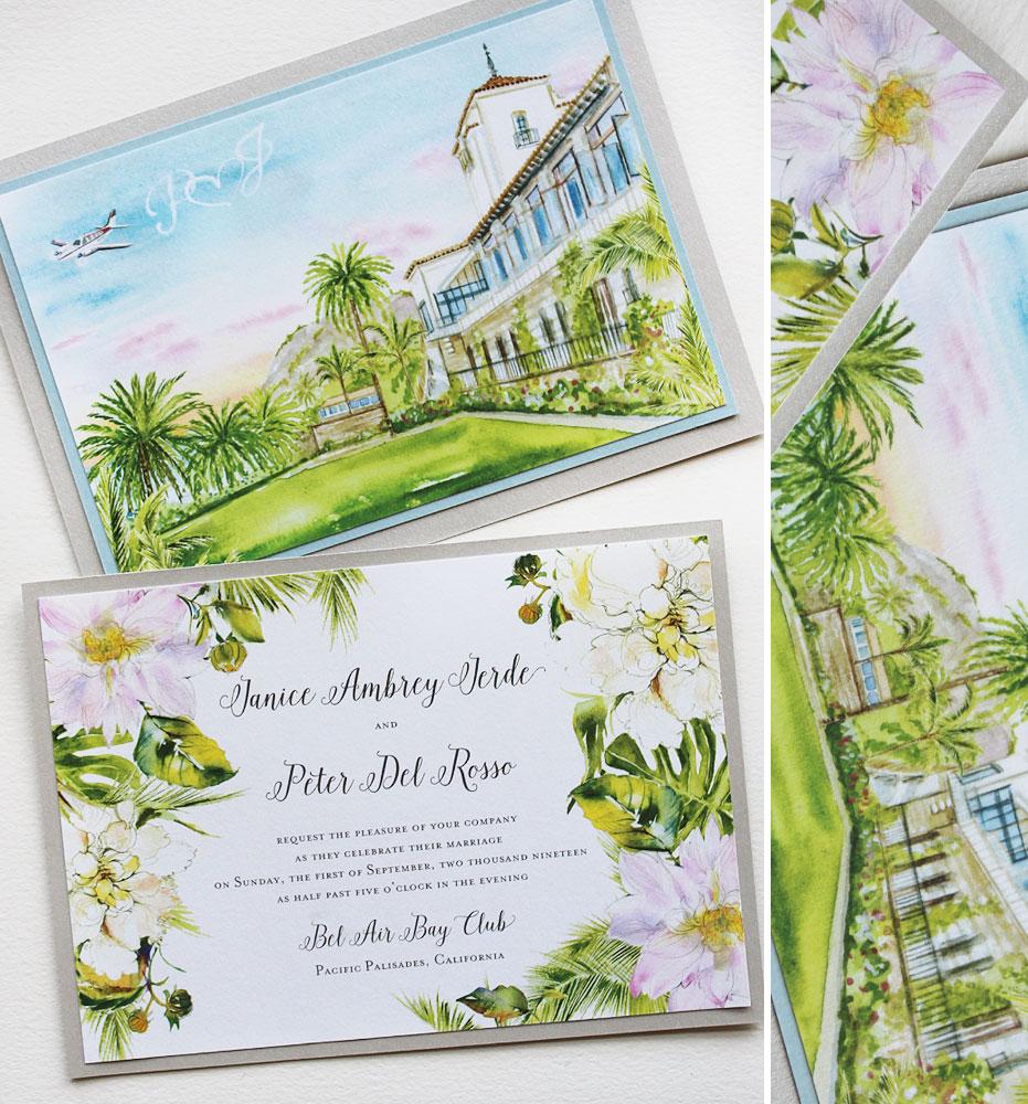Bel Air Bay Club Wedding Invitations