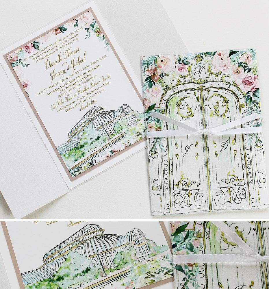 Brooklyn Botanical Gardens Wedding Invitation