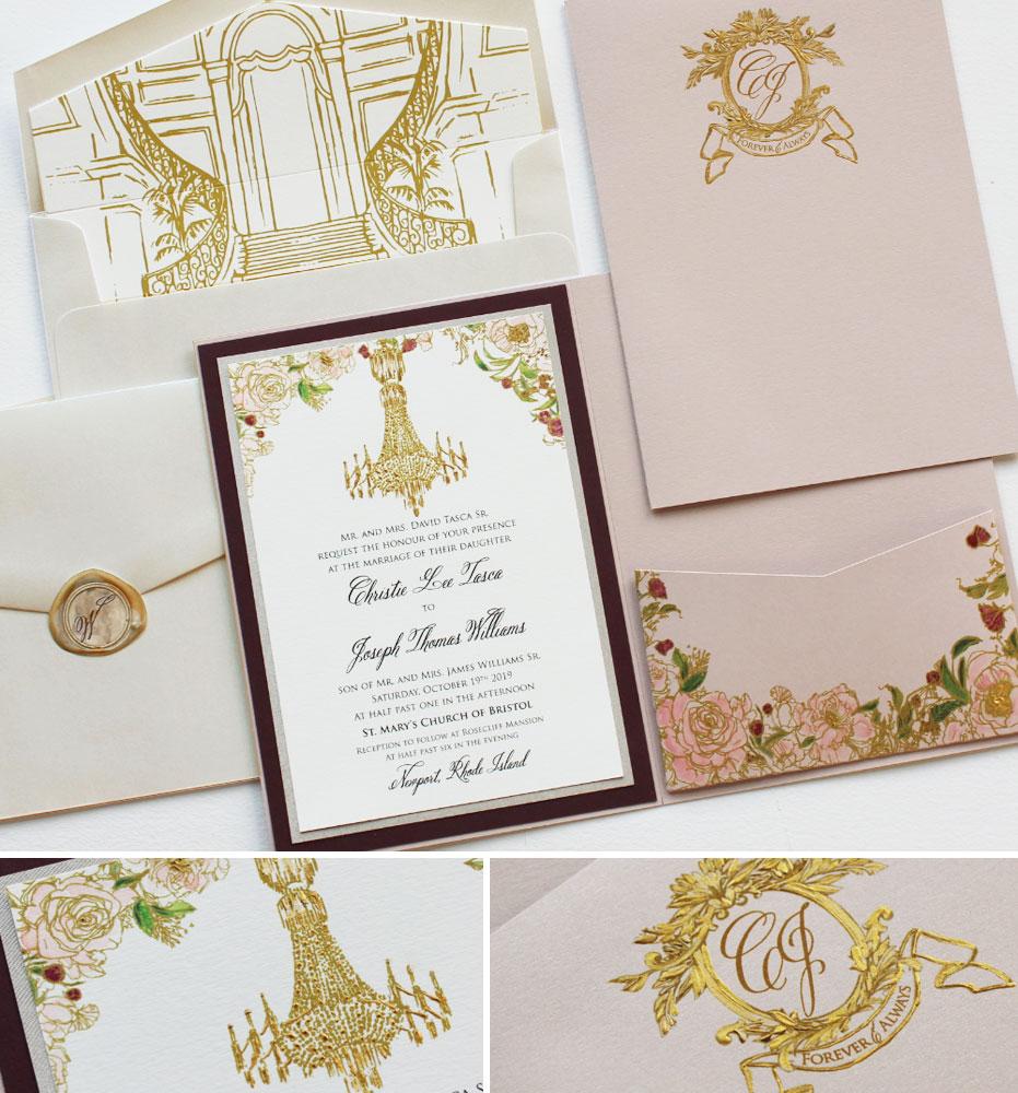 Rosecliff Mansion Wedding Invitations