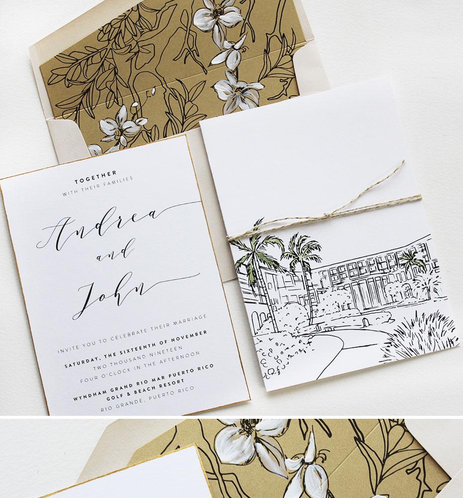 Tropical Puerto Rico Wedding Invitations