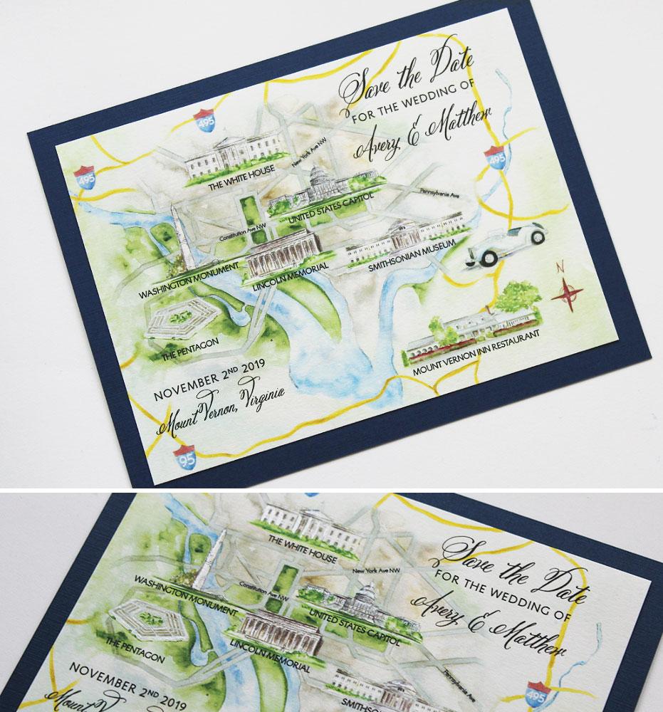 Washington DC Wedding Map Save the Dates
