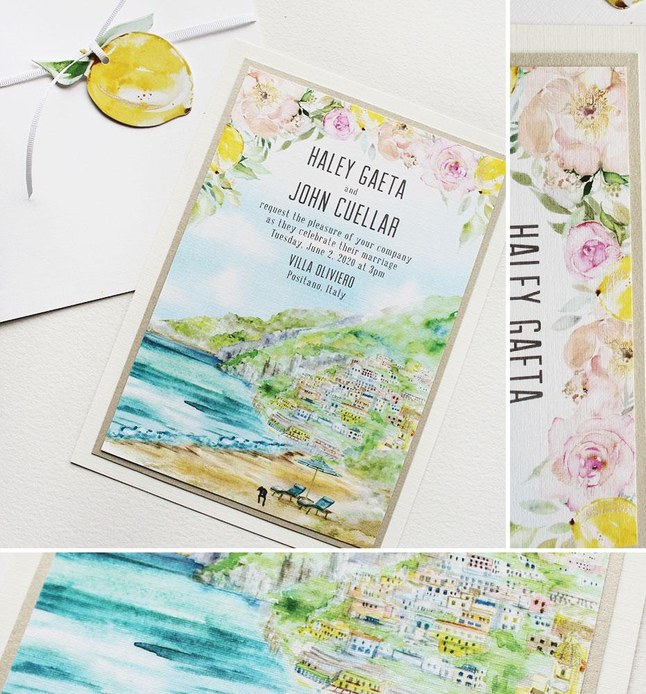 Watercolor Amalfi Coast Landscape Wedding Stationery