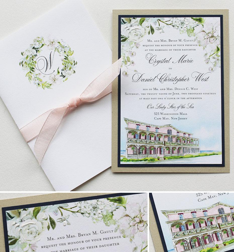 Watercolor Cape May Wedding Invitations