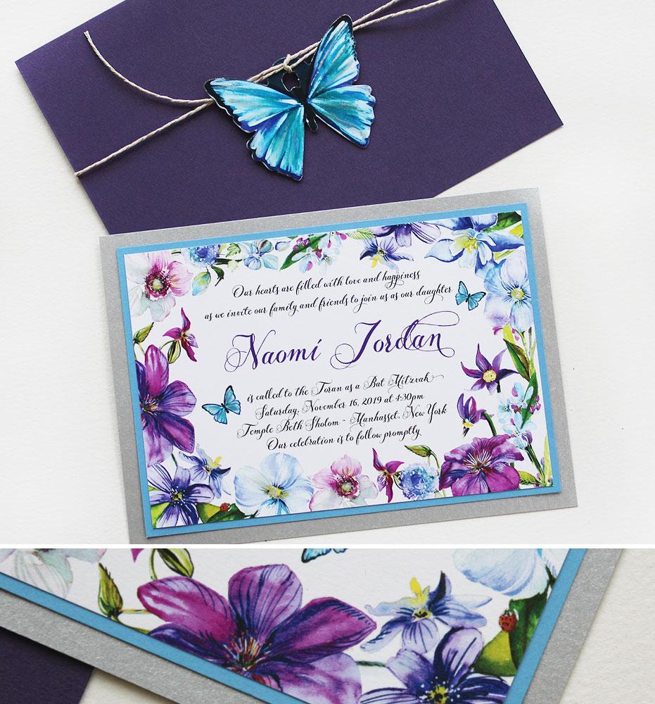 Watercolor Floral Bat Mitzvah Invitations