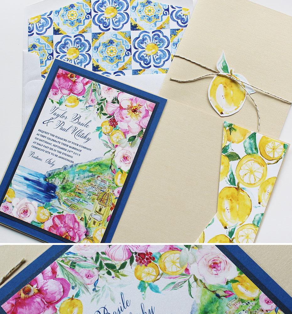 Watercolor Italian Tile Wedding Invitation