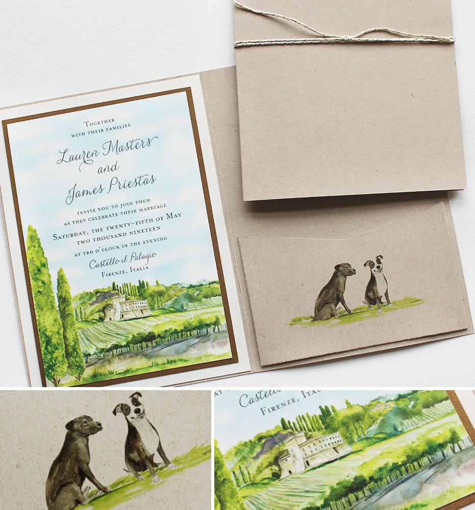 Watercolor Tuscany Italy Wedding Invitations