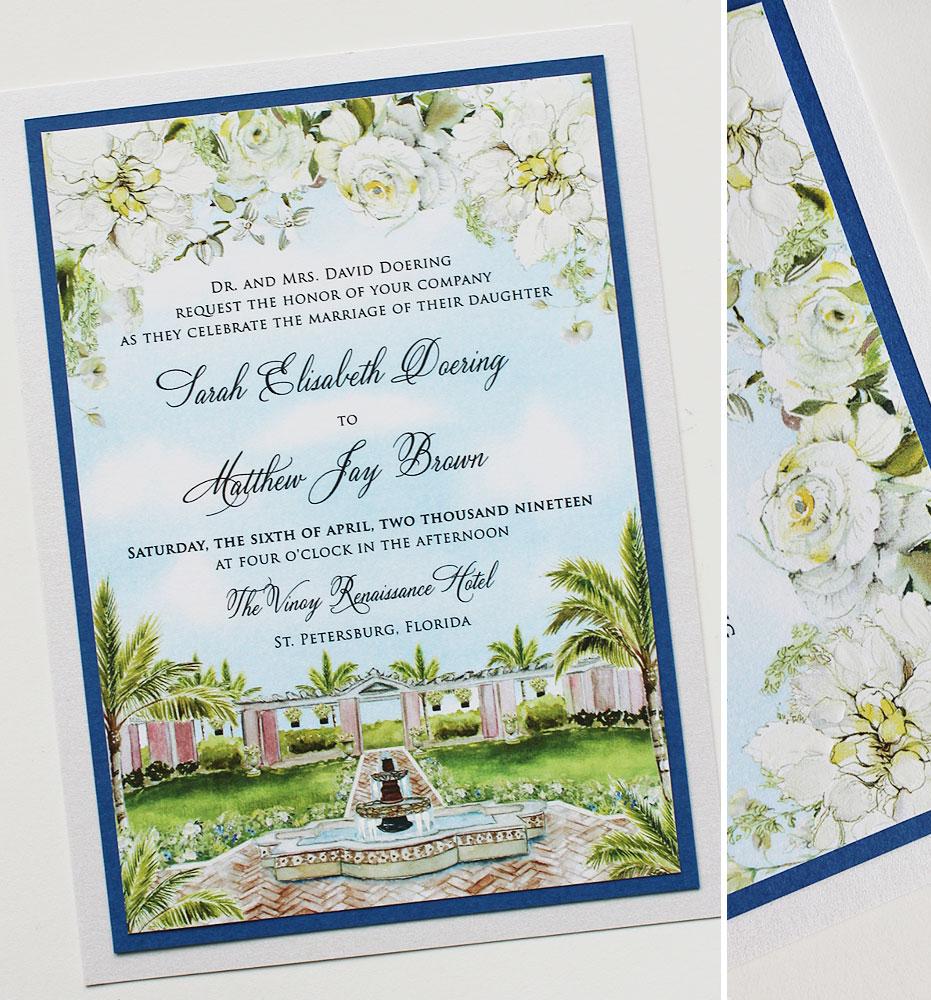 White Floral Venue Wedding Invitation