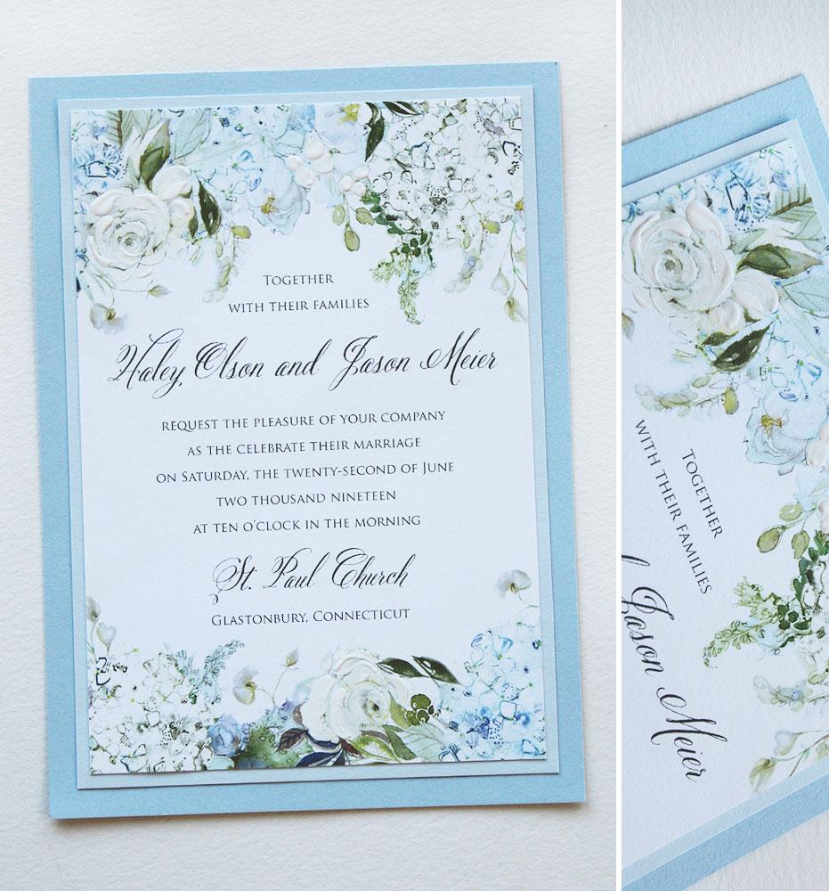 Blue Hydrangea Wedding Invitations