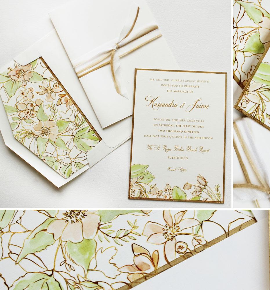 Botanical Pattern Wedding Invitations